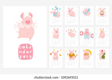 Monthly creative calendar 2019 with cute pig. Concept, vector vertical editable template. Symbol of the year in the Chinese calendar. Cartoon. Isolated. Vector illustration