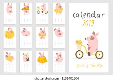 Monthly creative calendar 2019 with cute pig. Concept, vector vertical editable template. Symbol of the year in the Chinese calendar. Cartoon. Isolated. Vector illustration. Year of the yellow pig