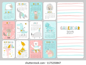 Monthly creative calendar 2019 with cute animals. Concept, vector vertical editable template. Symbol of the year in the Chinese calendar. Funny cartoon characters.Vector illustration.