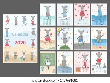 Monthly creative calendar 2020 cute hand drawn rat. Concept, vector vertical editable template. Symbol of the year in the Chinese calendar. Cartoon. Isolated. Vector illustration. Vector A3 format.
