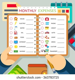 Monthly expenses stock images royalty free images for Household bargaining and the design of couples income taxation