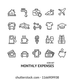 Monthly Expenses Signs Black Thin Line Icon Set Include of Health, Travel and Car. Vector illustration of Icons