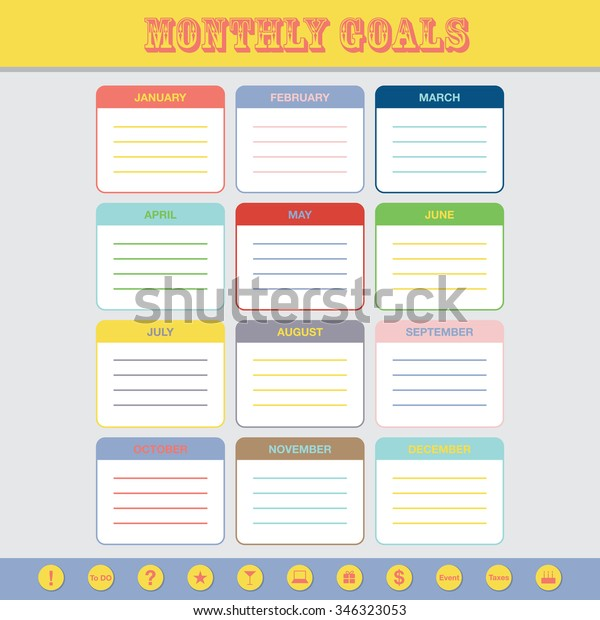 image relating to Monthly Goals Template known as Regular Targets Calendar Template Yr 2016 Inventory Vector