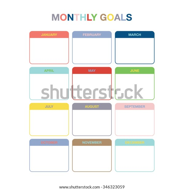 Monthly Goals Calendar Template Year 2016 Stock Vector