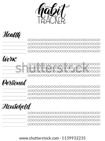 Monthly Habit Tracker Blank Hand Written Stock Vector Royalty Free