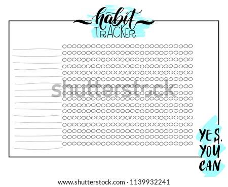 Monthly Habit Tracker Blank Handwritten Cute Stock Vector Royalty