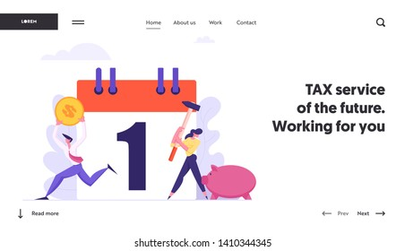 Monthly Loan Payment Landing Page Template. People Characters Pay the Bills Every Month Calendar. Financial Schedule with Money and Businessmen Banner Website. Vector flat illustration
