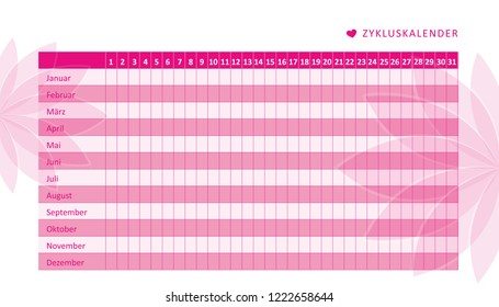 monthly menstruation calendar of menstrual cycle with flowers vector illustration EPS10