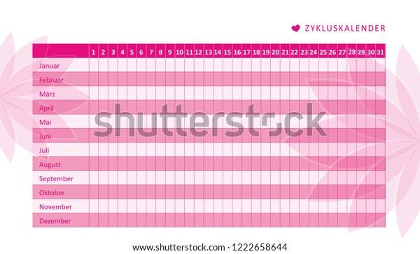 Menstrual Cycle Calendar.Monthly Menstruation Calendar Menstrual Cycle Flowers Stock Vector