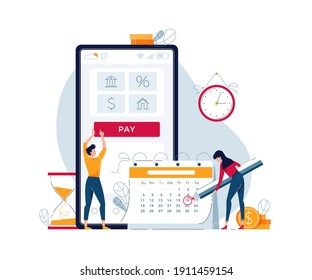 Monthly payment vector illustration. Man and woman pay regular payments online and make notice in calendar. Keep up with monthly payments concept for banner, web, emailing. Modern flat cartoon design