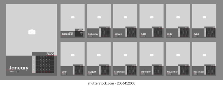 Monthly Photo Calendar 2022. Simple wall monthly vertical photo calendar 2022 year in English. Cover Calendar, 12 months templates. Week starts from Monday. Vector illustration