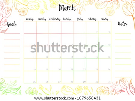 Monthly Planner 2019 Vector Design Template Stock Vector Royalty