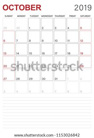 Monthly Planner Calendar October 2019 Week Stock Vector Royalty