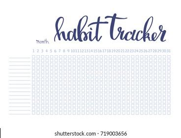 Monthly planner habit tracker blank template