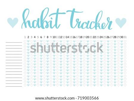 monthly planner habit tracker blank template のベクター画像素材
