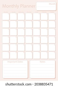 Monthly planner leaf in light pink color without dates, week starts on Monday, template, mock up calendar leaf illustration. Vector graphic page