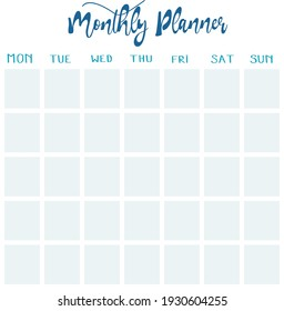 Monthly planner page ready for print with five weeks option. Filling in cells for each day. Worksheets for homeschool mothers