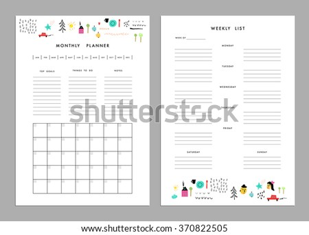 monthly planner plus weekly list templates stock vector royalty