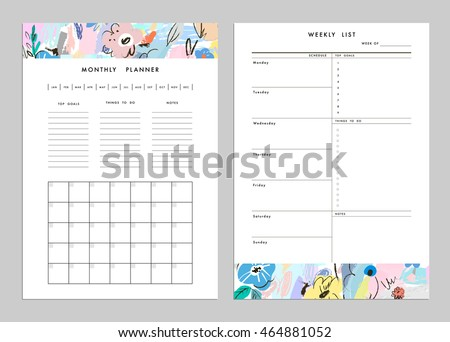 Weekly To Do List Template | Monthly Planner Plus Weekly List Templates Stock Vektorgrafik
