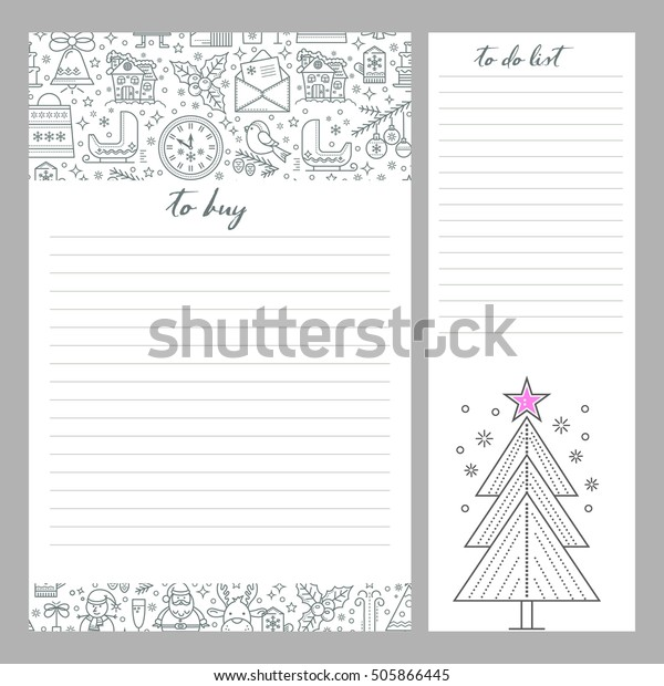 Christmas List Organizer.Monthly Planner Template Do List Shopping Stock Vector