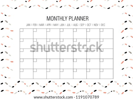 Monthly Planner Template Vector Hand Drawn Stock Vector Royalty
