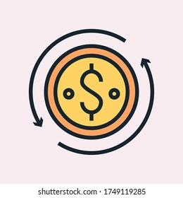 Monthly recurring revenue. Digital marketing concept illustration, flat design linear style banner.  Vector