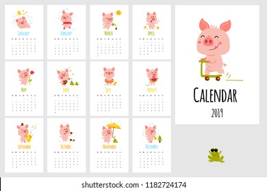 Monthly vector calendar 2019 with cute cartoon little pink pig. Vertical editable template. Symbol of the year in the Chinese calendar.