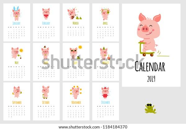 Monthly Vector Calendar 2019 Cute Cartoon Stock Vector