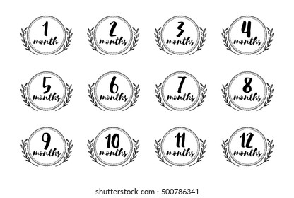 Months stickers set