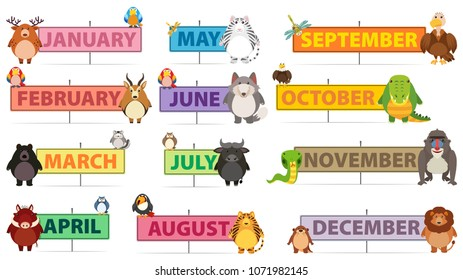 Months of a Year Banner illustration