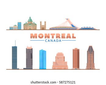 Montreal (Canada) city landmark.. Vector Illustration. Business travel and tourism concept with modern buildings. Image for presentation, banner, placard and web site