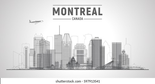 Montreal (Canada)  city lines skyline.. Vector Illustration. Business travel and tourism concept with modern buildings. Image for presentation, banner, placard and web site