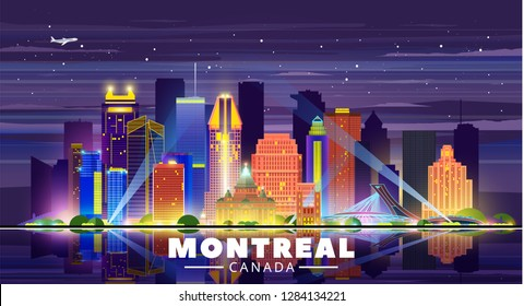 Montreal (Canada) skyline with panorama in sky background. Vector Illustration. Business travel and tourism concept with modern buildings. Image for presentation, banner, placard and web site.