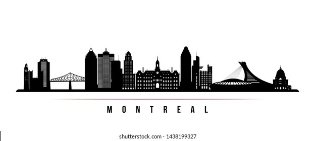 Montreal city skyline horizontal banner. Black and white silhouette of Montreal city, Canada. Vector template for your design.