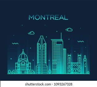 Montreal city skyline, Quebec, Canada. Trendy vector illustration, linear style