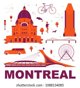 Montreal culture travel set, famous architectures and specialties in flat design. Business travel and tourism concept clipart. Image for presentation, banner, website, advert, flyer, roadmap, icons