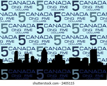 Montreal skyline against five dollar bill