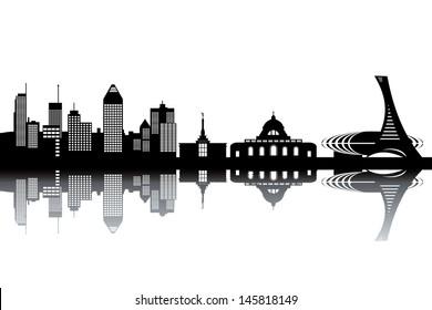 Montreal skyline - black and white vector illustration