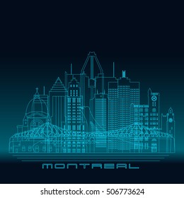 Montreal skyline, detailed silhouette. Modern vector illustration, blue linear style.