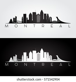 Montreal skyline and landmarks silhouette, black and white design, vector illustration.