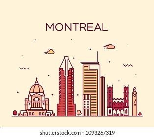 Montreal skyline, Quebec, Canada. Trendy vector illustration, linear style