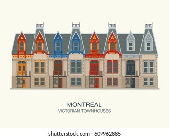 Montreal victorian townhouses. Quebec, Canada. Flat vector illustration template for web, graphic, game and motion design.