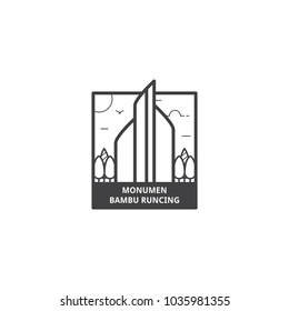 Monumen Bambu Runcing Surabaya, Monument of Sharp Bamboo Surabaya, Indonesia, represent the spirit fighting of people against enemy in the past in icon illustration vector isolated