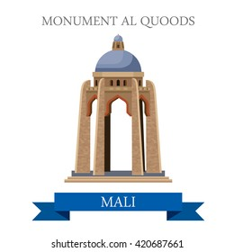 Monument al Quoods in Bamako in Mali. Flat cartoon style historic sight showplace attraction web site vector illustration. World countries cities vacation travel sightseeing Central Africa collection.