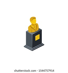 Monument Bust Golden Bronze. Vector 3d isometric, color web icon, new flat style. Creative illustration design, idea for infographics.