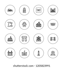 Monument icon set. collection of 16 outline monument icons with brasilia, cadillac, castle, dolmen, gateway arch, faisal mosque, golden gate, kremlin, london eye icons.
