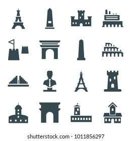 Monument icons. set of 16 editable filled monument icons such as castle, arc de triomphe, monument, eiffel tower, bust, castle tower, chichen itza