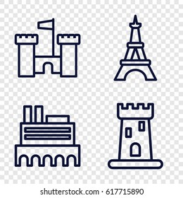 Monument icons set. set of 4 monument outline icons such as castle