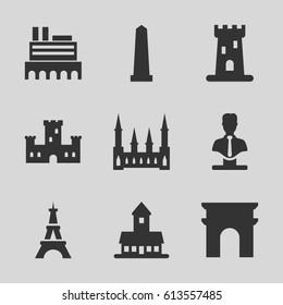 Monument icons set. set of 9 monument filled icons such as castle, Arc de Triomphe, monument, Eiffel Tower