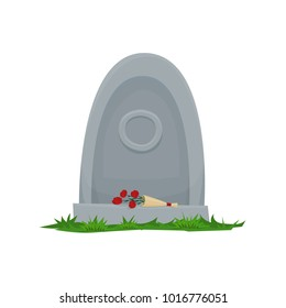 Monument on the grave. Gravestone in the cemetery. Gray monument on the grave of RIP. Vector cartoon illustration.